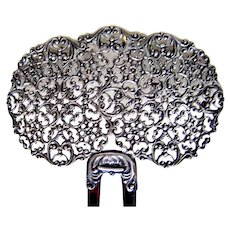 Victorian sterling silver filigree hair comb hair pin