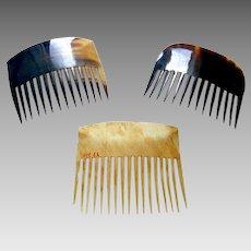 3 Early Americana steer horn hair combs hair accessories