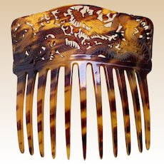 Victorian faux tortoiseshell hair comb Oriental dragon hair ornament