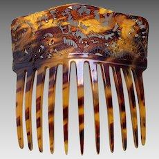 Victorian faux tortoiseshell hair comb Oriental dragon hair ornament