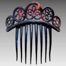 Victorian faux tortoiseshell tiara style hair comb hair accessory