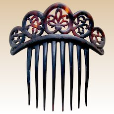 Victorian faux tortoiseshell tiara style hair comb hair accessory