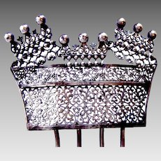 Victorian hair comb silver tone filigree Spanish style hair accessory