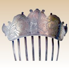 Early Victorian hair comb silver plated engraved hair ornament