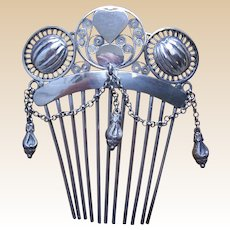 Victorian sterling silver Moorish style comb with dangles hair accessory