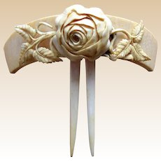 Victorian French ivory hair comb carved roses hair accessory