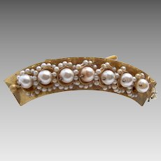 Victorian hinged  pearl hair comb bridal wedding hair accessory