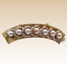 Victorian hinged  pearl hair comb hair accessory