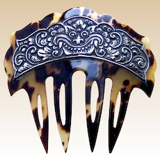 Art Nouveau hair comb celluloid faux tortoiseshell silver hair accessory