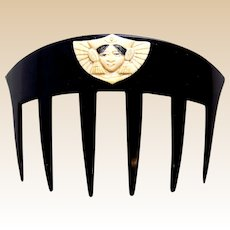 Auguste Bonaz signed Art Deco hair comb Egyptian Revival hair ornament