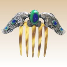 Art Nouveau hair comb wings design peacock stone hair accessory