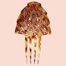 Art Deco faux tortoiseshell hair comb Spanish mantilla style headdress