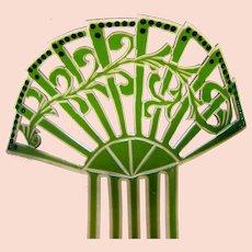 Art Deco green celluloid hair comb Spanish mantilla style  hair ornament
