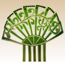 Art Deco green celluloid hair comb Spanish mantilla style  hair ornament