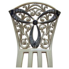 Art Nouveau French ivory hair comb Spanish mantilla style bridal hair accessory