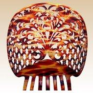 Spanish mantilla comb celluloid faux tortoiseshell mid century headdress