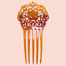 Amber celluloid hair comb Spanish style hair ornament