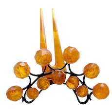 Victorian faux amber hinged tiara hair comb hair accessory