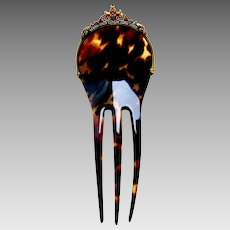 Victorian hair comb Spanish style faux tortoiseshell hair accessory