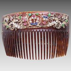 Victorian hair comb rhinestone faux tortoiseshell hair ornament