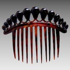 Victorian hair comb faux tortoiseshell antique hair ornament