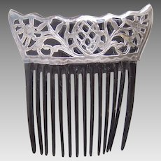 Art Nouveau hair comb sterling silver Spanish style hair accessory