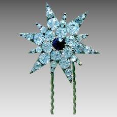 Late Victorian rhinestone star shaped hair pin or hair accessory