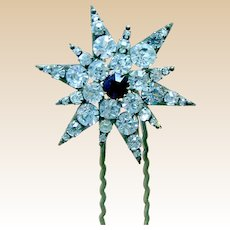 Late Victorian rhinestone star shaped hair pin or hair accessory
