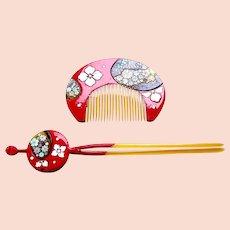 Vintage Japanese kanzashi comb hairpin geisha set hair accessory