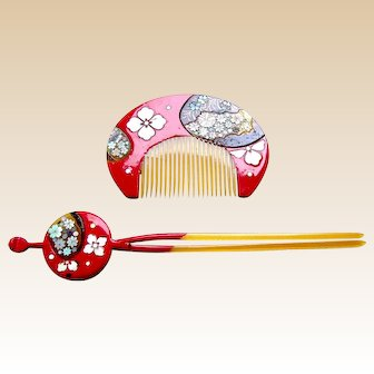 Vintage Japanese kanzashi comb hairpin geisha set hair accessory