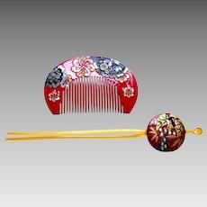Vintage Japanese kanzashi comb hairpin geisha set hair ornament (ABF)