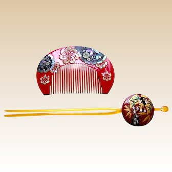 Vintage Japanese kanzashi comb hairpin geisha set hair ornament (ABF)