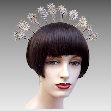 Tiara crown Indonesian wedding headdress trembler flowers hair accessory