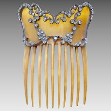 Victorian steer horn rhinestone hair comb Spanish mantilla style hair accessory