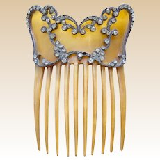 Victorian steer horn rhinestone hair comb Spanish mantilla style hair accessory