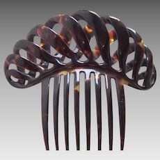 Victorian natural tortoiseshell hair comb cable design hair accessory