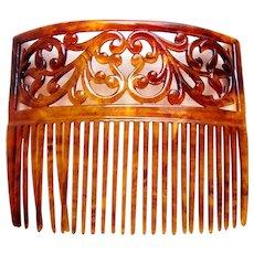 Victorian celluloid faux tortoiseshell hair comb scroll design hair ornament
