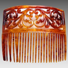 Victorian celluloid faux tortoiseshell hair comb scroll design hair ornament