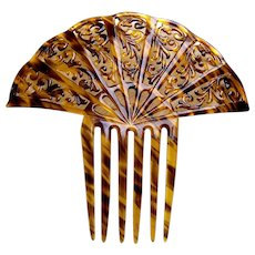 Large Art Deco hair comb celluloid faux tortoiseshell hair accessory