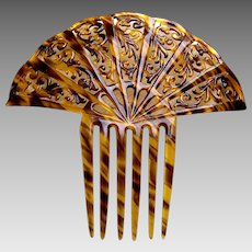Large Art Deco hair comb celluloid faux tortoiseshell hair accessory