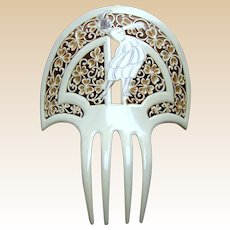Art Deco French Ivory comb with figural lady Spanish mantilla headdress