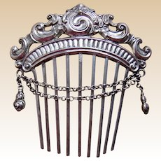 Sterling silver hair comb Moorish style hair accessory