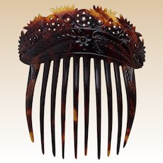 Victorian carved hair comb natural tortoiseshell Spanish style hair ornament