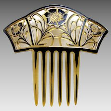 Art Deco hair comb celluloid overlay floral hair accessory