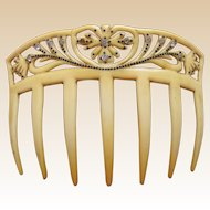 Art Nouveau hair comb French ivory hair ornament