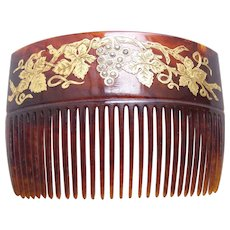 Late Victorian hair comb faux tortoiseshell gilded hair accessory