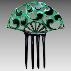 Unusual green hair comb Art Deco celluloid hair ornament