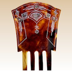 Victorian hair comb faux tortoiseshell celluloid Spanish style hair ornament
