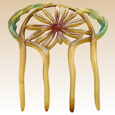Art Nouveau hair comb carved and tinted horn floral hair accessory