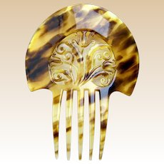 Auguste Bonaz signed hair comb Art Deco hair ornament